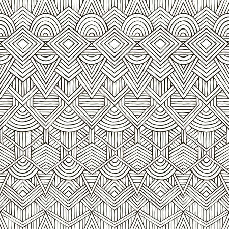 Seamless tribal pattern. Hand-drawn background. vector illustration. Vektorové ilustrace