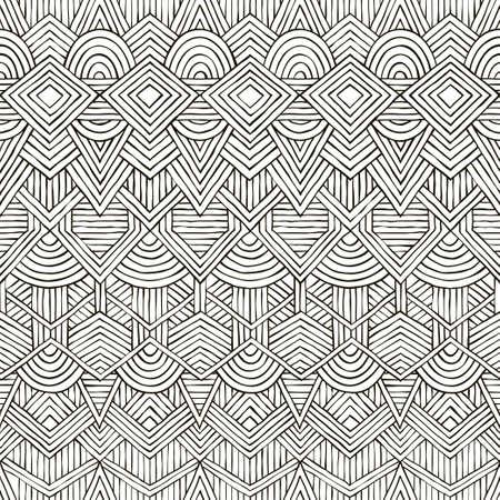 handdrawn: Seamless tribal pattern. Hand-drawn background. vector illustration.