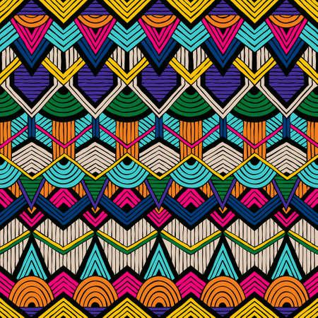 Modèle vectoriel coloré dans le style trible. Seamless dessinée à la main.