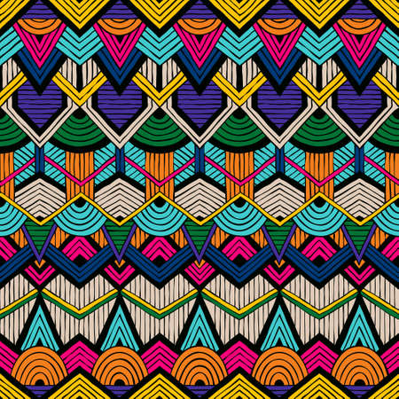 Colorful vector pattern in trible style. Seamless hand-drawn background.