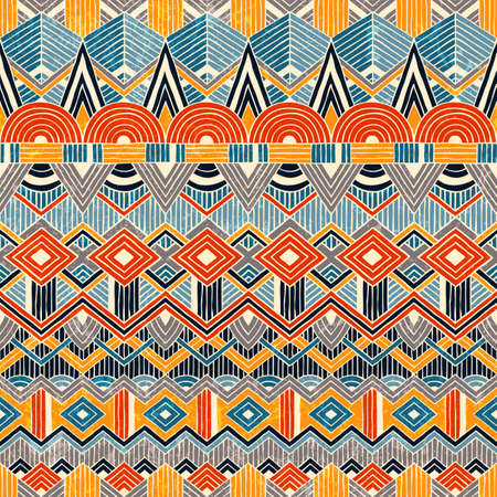 african fabric: Hand drawn seamless pattern. Abstract geometric background. Vector illustration EPS10. Illustration