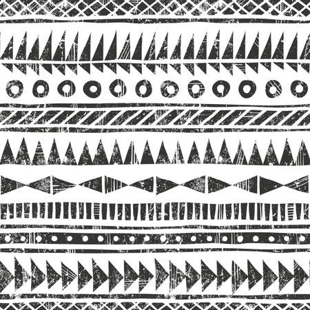 fabric patterns: Hand drawn tribal pattern. Primitive geometric background in grunge style. EPS10 vector illustration. Contains no transparency and blending modes. Illustration