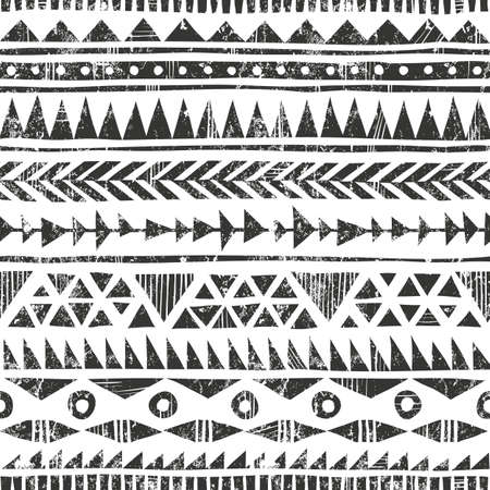 Hand drawn folk pattern. Geometric background in grunge style. EPS10 vector illustration. Contains no transparency and blending modes.