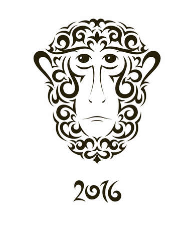 baboon: Greeting card with baboon monkey - symbol of the New Year 2016.  Illustration