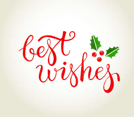 best wishes: Best Wishes text with holly leaves - Christmas greeting card.   EPS10 vector illustration.