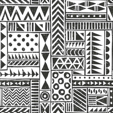 tribal pattern: Vector seamless tribal pattern. Seamless background with different geometric shapes. Hand drawn illustration.. Contains no transparency and blending modes. Illustration