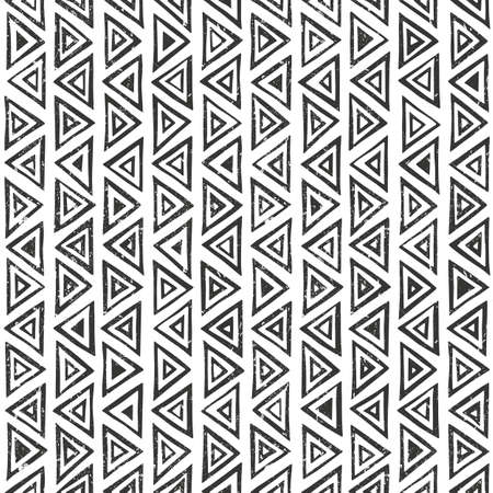balck and white: Abtract geometric pattern with triangles. Hand drawn tribal seamless background. Illustration