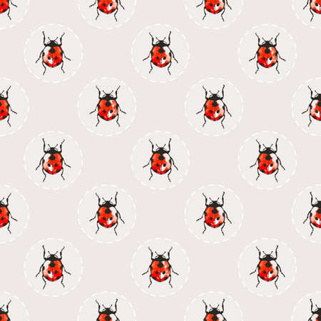 bedclothes: Seamless background with pretty watercolor ladybugs. EPS 10 vector illustration. Illustration