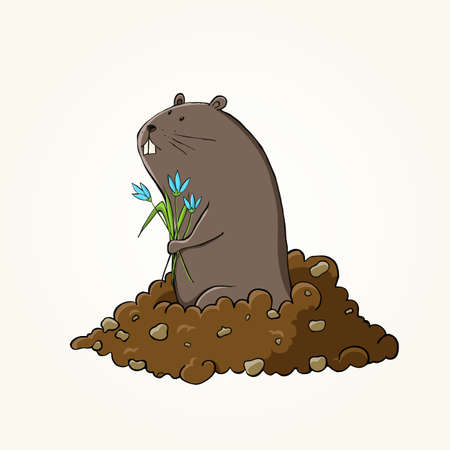burrow: Happy Groundhog Day design with cute groundhog. EPS 10 vector illustration.