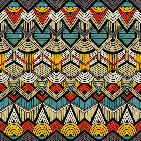Colorful vector pattern in tribal style. Seamless hand-drawn background with grunge texture.
