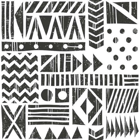 modes: Vector seamless tribal pattern. Abstract background with different geometric shapes. Hand drawn illustration. Contains no transparency and blending modes. Illustration