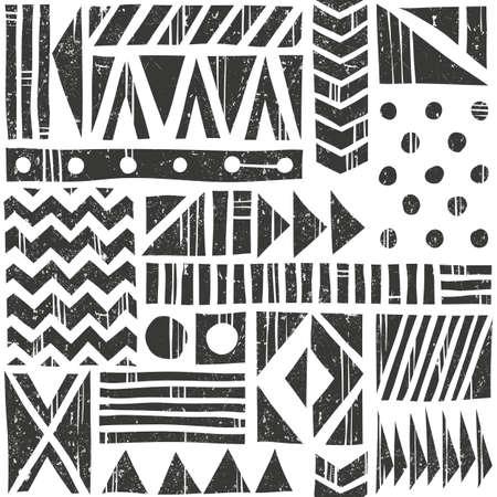 Vector senza motivo tribale modello. Sfondo astratto con diverse forme geometriche. Illustrazione disegnata a mano. Non contiene metodi di trasparenza e miscelazione.