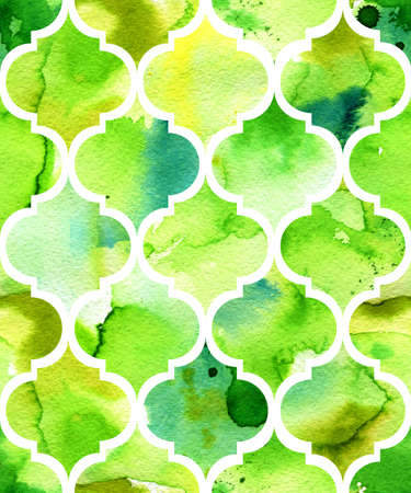 Seamless watercolor background in green. Beautiful hand drawn pattern in moroccan style.