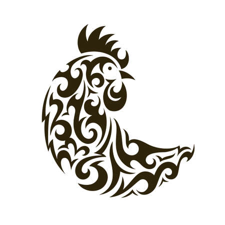 Ornamental rooster - symbol of New Year 2017. EPS 10 vector illustration. Decorative ornament in tribal style.