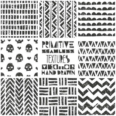 primeval: Set of 8 primitive geometric patterns. Tribal seamless background. Stylish trendy print. Modern abstract wallpaper with grunge texture. Vector illustration EPS10. Illustration