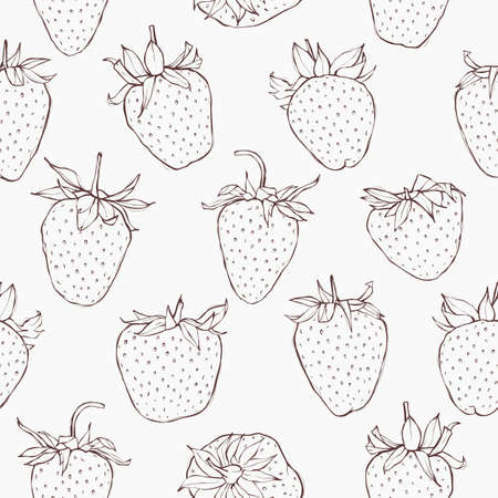 strawberry: Seamless pattern with strawberries. Hand-drawn monochrome wallpaper. EPS 10 vector illustration.