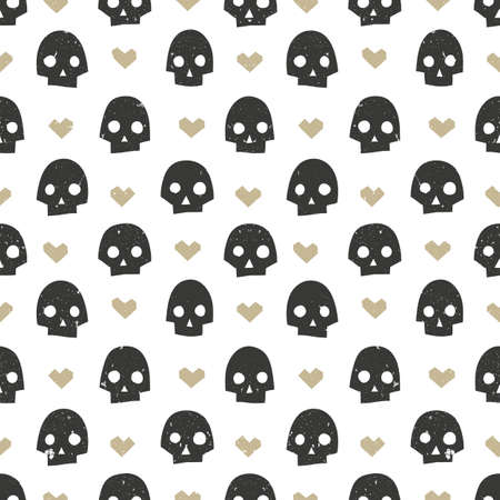 modern wallpaper: Seamless pattern with skulls and hearts. Modern abstract wallpaper. Hand drawn vector illustration EPS10. Illustration