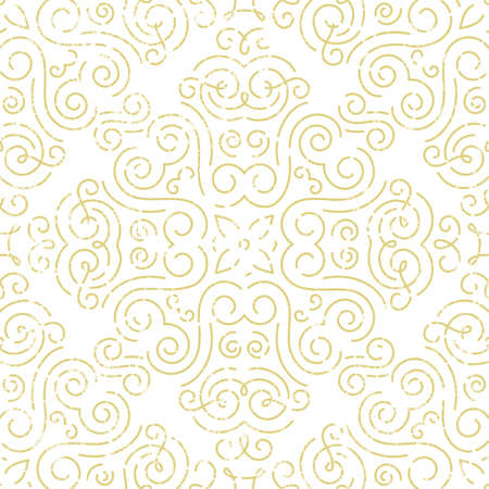 whorls: Seamless vintage wallpaper. Abstract gold background. Illustration