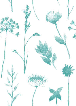 pressed: Seamless pattern with dry flowers and grass. Hand drawn illustration with stipple effect.