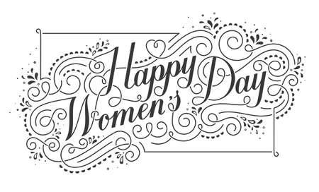 calligraphic design: Happy Womens Day Calligraphic Text Design Element.