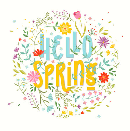 Hello Spring. Floral background. Stock Photo
