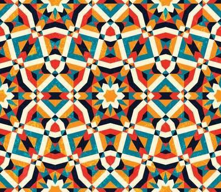 traditional: Abstract geometric background. Colorful seamless pattern. Stock Photo