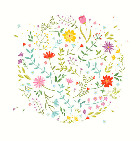 Floral design element. Greeting card with cute flowers.