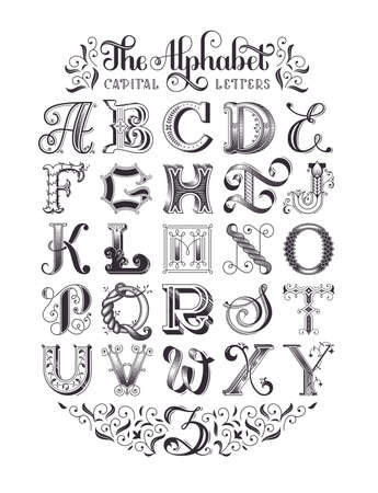 Decorative vintage alphabet. Original high-detalized capital letters. Typographic poster. EPS 10 vector illustration.