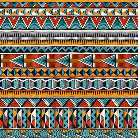Tribal bez szwu ozdoba w żywych kolorach. Abstrakcyjne tło w stylu afrykańskim. Ilustracje wektorowe
