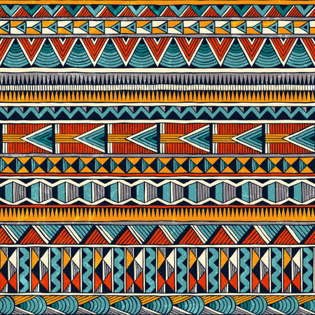 Tribal seamless ornament in vibrant colors. Abstract background in african style. Stock Illustratie