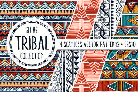 다채로운 민족 패턴 컬렉션입니다. 4 현대 추상 원활한 장식품의 집합입니다.