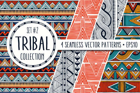 Colorful ethnic patterns collection. Set of 4 modern abstract seamless ornaments. Ilustração
