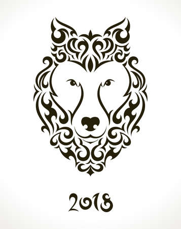 Vector illustration of a dog for 2018 Chinese New Year. Illustration