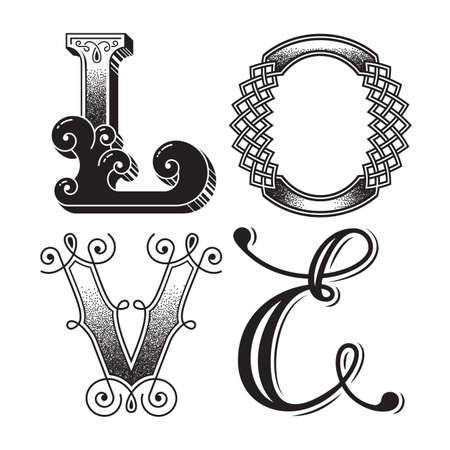 Word love. Original lettering poster.