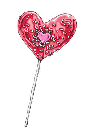 Vector illustration of heart shaped lollipop. Hand drawn Valentine.