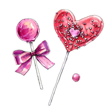 Watercolor sweets isolated on white background. Hand drawn illustration with lollipops.
