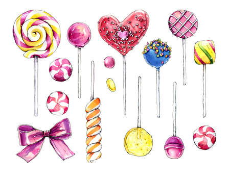 Hand drawn watercolor collection of colorful candies.
