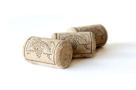 Wine corks isolated on white background photo