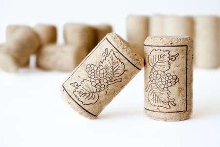 wine and dine: Wine cork on white background