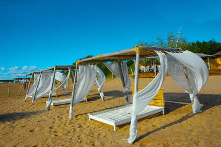 Tent from by white fabric ashore exterminating Stock Photo - 4343756