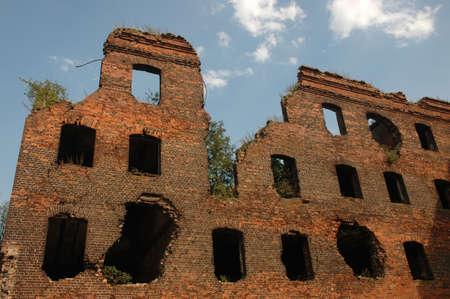 blasted: Walls of the blasted house, Fortress Oreshek Shlisselburg Stock Photo