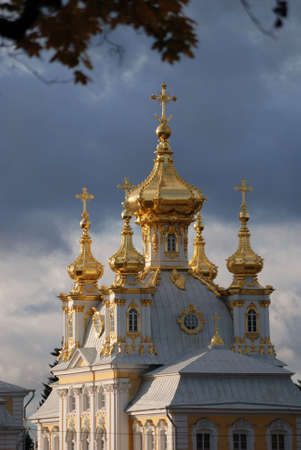 cupola: Church of Grand Palace in Petrodvorets (Peterhof), St Petersburg, Russia Stock Photo