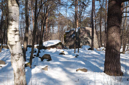 enormous: enormous stone are in a snow-bound park Stock Photo