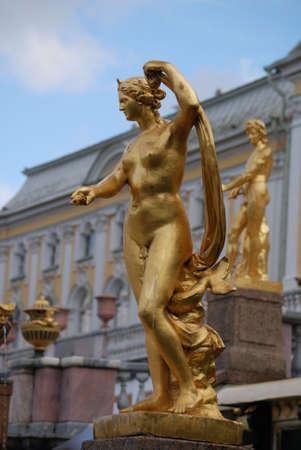 Ensemble of Grand Cascade in Petrodvorets (Peterhof) St. Petersburg, Russia photo