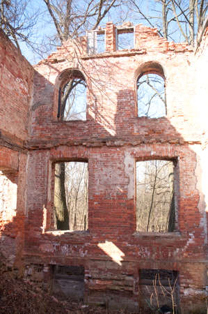 Weathered remains of medieval country estate built with red bricks Stock Photo - 4820915