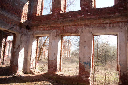 Weathered remains of medieval country estate built with red bricks Stock Photo - 4820798