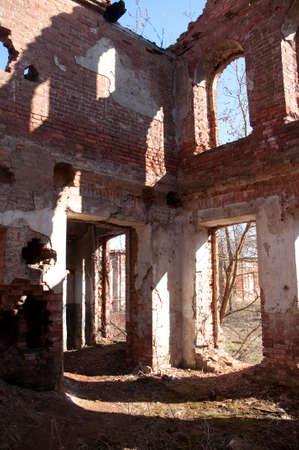 Weathered remains of medieval country estate built with red bricks Stock Photo - 4820834