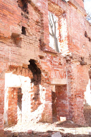 Weathered remains of medieval country estate built with red bricks Stock Photo - 4820806