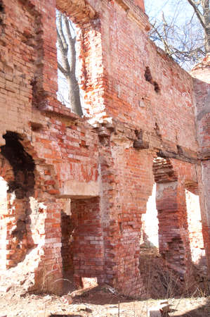 Weathered remains of medieval country estate built with red bricks Stock Photo - 4820769