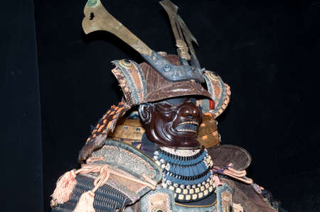 japanese ethnicity: Historic samurai armor on black